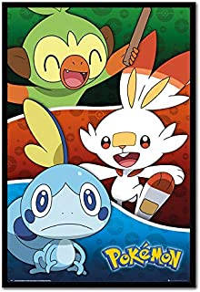 Pokemon Galar Starters Poster Black Framed - 96.5 x 66 cms (Approx 38 x 26 inches)