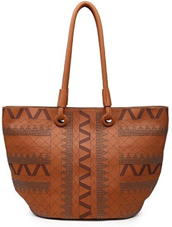 Shomico Women's MT1248 Shoulder Bags Casual Faux Leather Tote Purse, Brown, Large