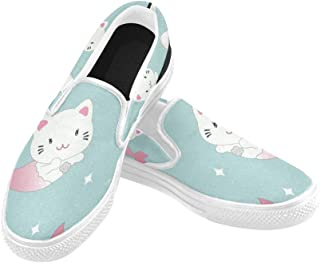 Wide Canvas Shoes for Women Cute Cat Mermaid Decorated Manta Ray Canvas Slip-on Casual Printing Comfortable Low Top Womens Fashion Sneakers