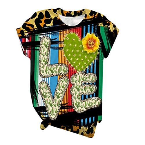 Dicomi Plus Size Women Short Sleeve T-Shirt 3D Kitty Cat Printed Crewneck Loose Tee Blouse Tops