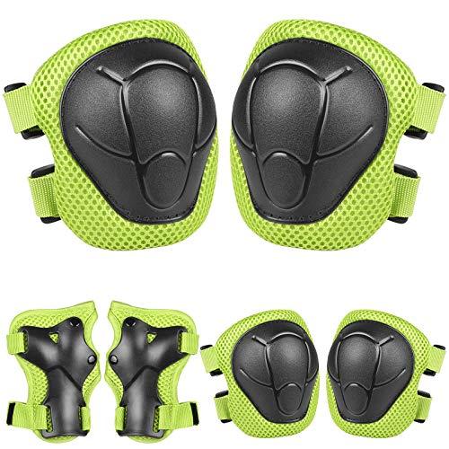 Dveda - Juego de rodilleras para niños y jóvenes, 3 en 1, para niños y niñas, ciclismo, patinaje en línea, 6 unidades, para deportes al aire libre, color verde