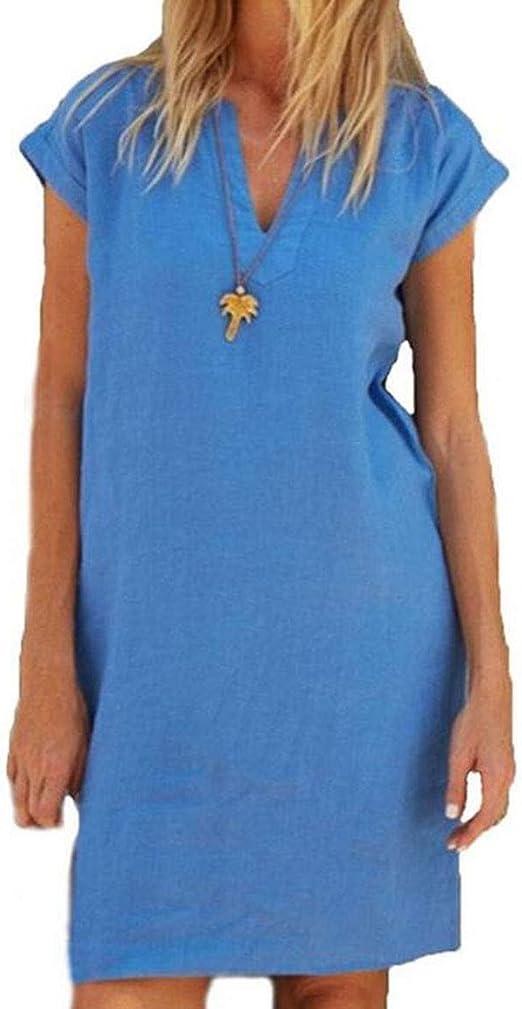 Yutila Sommerkleid Leinen Kleider Damen V Ausschnitt Einfarbig A Linie Kleid Knielang Kleid Ohne Zubehor Amazon De Bekleidung