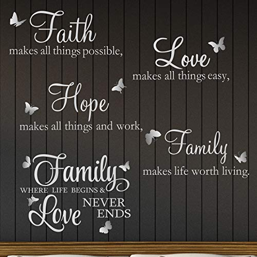 2 Sheets Vinyl Wall Decals, Faith Makes All Things Possible, Family Wall Decals Wall Stickers Quotes Inspirational Decals, Wall Quote Sayings Stickers Butterfly Wall Stickers (Bright Silver)