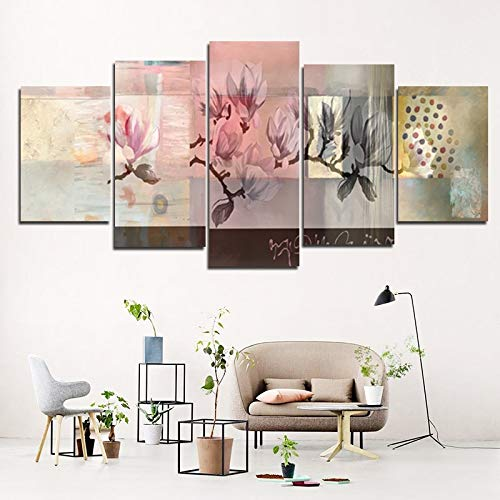 GVC 30X40X60X80 Abstract Flowers Branch Poster Hd Printed 5 Panel Home Decor Hazy Canvas Painting Wall Art Picture for Living Room Home Decor