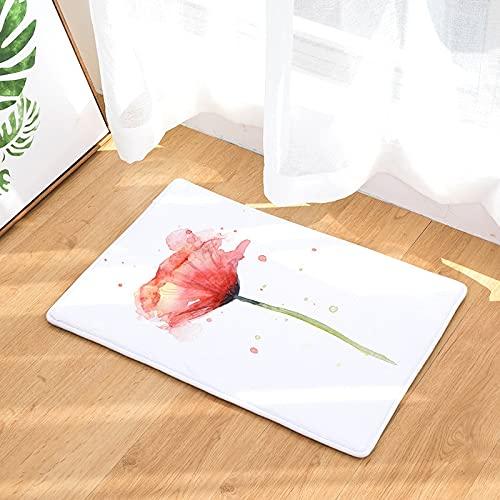 HLXX Alfombrilla de Suelo Antideslizante para decoración de Sala de Estar Moderna, Alfombra 3D de Franela con Estampado Floral, Alfombra de Bienvenida para el hogar A2 40x60cm