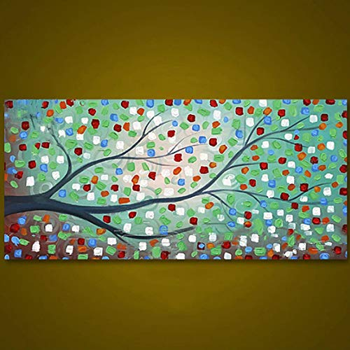 ZLYYH Pintura Al Óleo sobre Lienzo,Arte Pintado A Mano Color Original Árbol Manchado Árbol Pintura En Lienzo Óleo Paleta Cuchillo Texturizado Mano Impresionista Arte Pintura Al Óleo En Lienzo Pintura