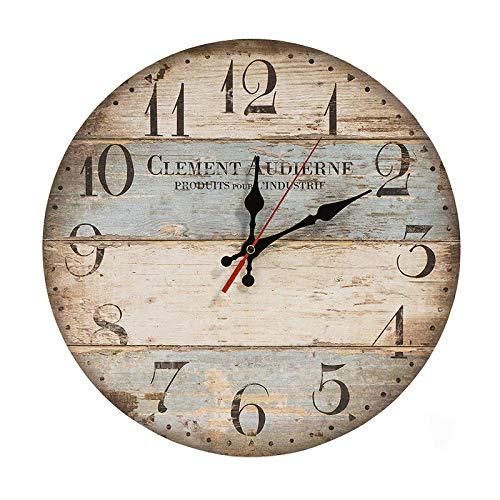 Nachar Reloj de Pared de Madera Grande, Reloj de Pared Vintage con números arábigos Grandes, Reloj de Pared de Funcionamiento silencioso para Sala de Estar, Cocina, dormitorios