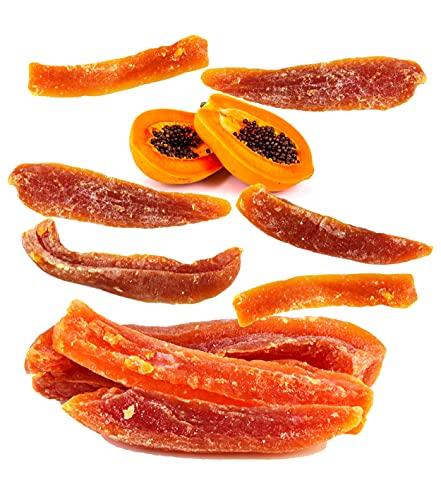 500g Getrocknete Papaya kandiert – Papaya streifen Getrocknete Früchte – Vegane Lebensmittel – Papaya zum Genießen für zu Hause, Unterwegs & für ihr Müsli.