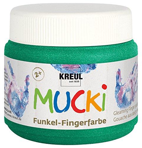 Kreul 23123 - Mucki schimmernde Funkel - Fingerfarbe auf Wasserbasis, parabenfrei, glutenfrei, laktosefrei und vegan, auswaschbar, vermalbar mit Pinsel und Fingern, 150 ml Dose, Smaragd grün