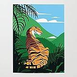 Beaxqb Kit de Pintura por Números Tigre Tropical Pintura al óleo Kit con Pinceles y Pinturas, para decoración del hogar 40x50cmSin Marco
