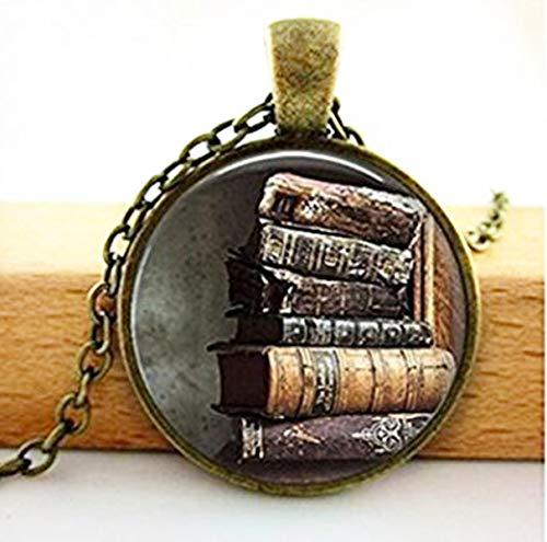 Biblioteca libro caso Collar Estilo Vintage Regalo para los estudiantes profesores y bibliotecarios collar
