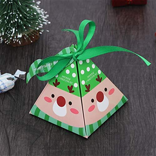 Avanzado 10pcs de Navidad de embalaje bolsa de regalo de las cajas del caramelo for los niños de cumpleaños favores de la boda Suministros caja de empaquetado bolsos de fiesta de Navidad Evento Papel