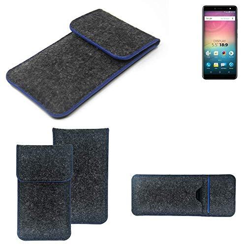 K-S-Trade Handy Schutz Hülle Für Allview V3 Viper Schutzhülle Handyhülle Filztasche Pouch Tasche Hülle Sleeve Filzhülle Dunkelgrau, Blauer Rand