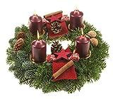 """Amazon.de Pflanzenservice Echter Adventskranz """"Kerzenzauber"""", 30 cm im Duchmesser, mit rotbraunen Kerzen"""