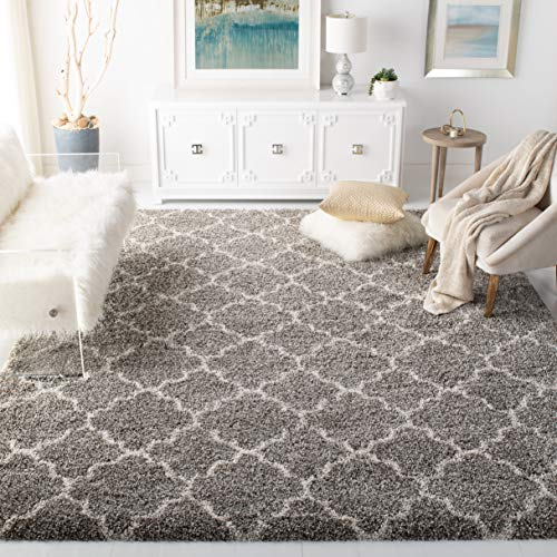 Safavieh Hudson Shag Collection Grey and Ivory Moroccan Geometric Quatrefoil Area Rug (8' x 10')