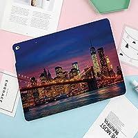 新しいiPad mini4 ケース おしゃれ 手帳型 横開き スマートカバー チェック 切り替え (ipad mini4)イーストリバーシティのイメージネオンライト反射を決して眠らないニューヨーク