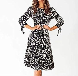 QGTDRESS 2 PCS Half-Sleeve Drawstring Waist Silk Dress, Size: S(Black) (Color : Black)
