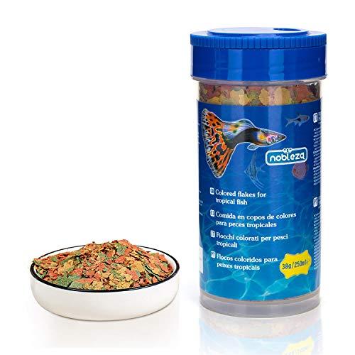Nobleza - Aliment Complet en Flocons pour Poisson Tropicaux - Une Formule Active Qui favorise la Croissance, la santé, la longévité et Augmente la Couleur 250ml