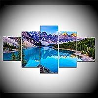 壁アートキャンバス絵画5ボード/ピースHD印刷風景氷湖ポスター現代の家のリビングルームの装飾,No+frame,L
