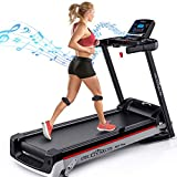 DR.GYMlee Folding 3 Manual Incline 300LB Weight-Capacity Smart Treadmill, Easy Assembly Electric Motorized Running Machine for Home Use with LCD Screen/Heart Rate Monitor/Phone Cup Holder (M7 Plus)
