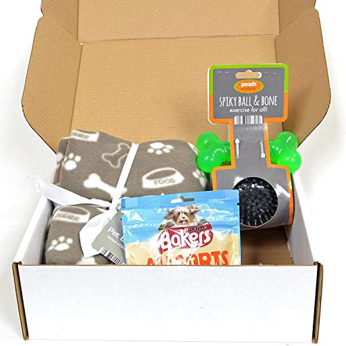Rock House Dog's Gift Set - Pet Blanket, 2 Dog Toys & Pack of Bakers Treats in a Gift Box