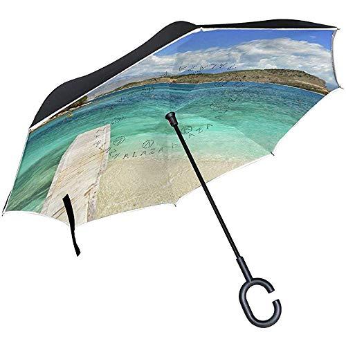 Sombrilla Invertida Sombrilla Invertida de Playa de Verano Reversible para Golf Coche Viaje Lluvia Exterior Negro