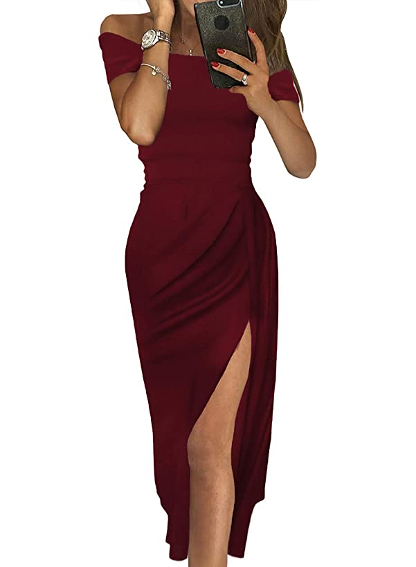 Womens Party Dresses Off The Shoulder Sexy Slit Evening Prom Gown Elegant Formal Dress