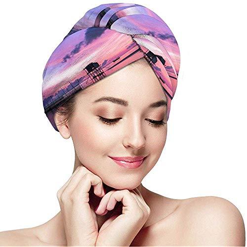 Cici-Shop Sunset Zeeman Boot Gedrukt Droog Haar Cap Handdoek Microvezel Haar Cap, Absorbens Snel Drogen Handdoek Wrap, Turbans voor Nat Haar
