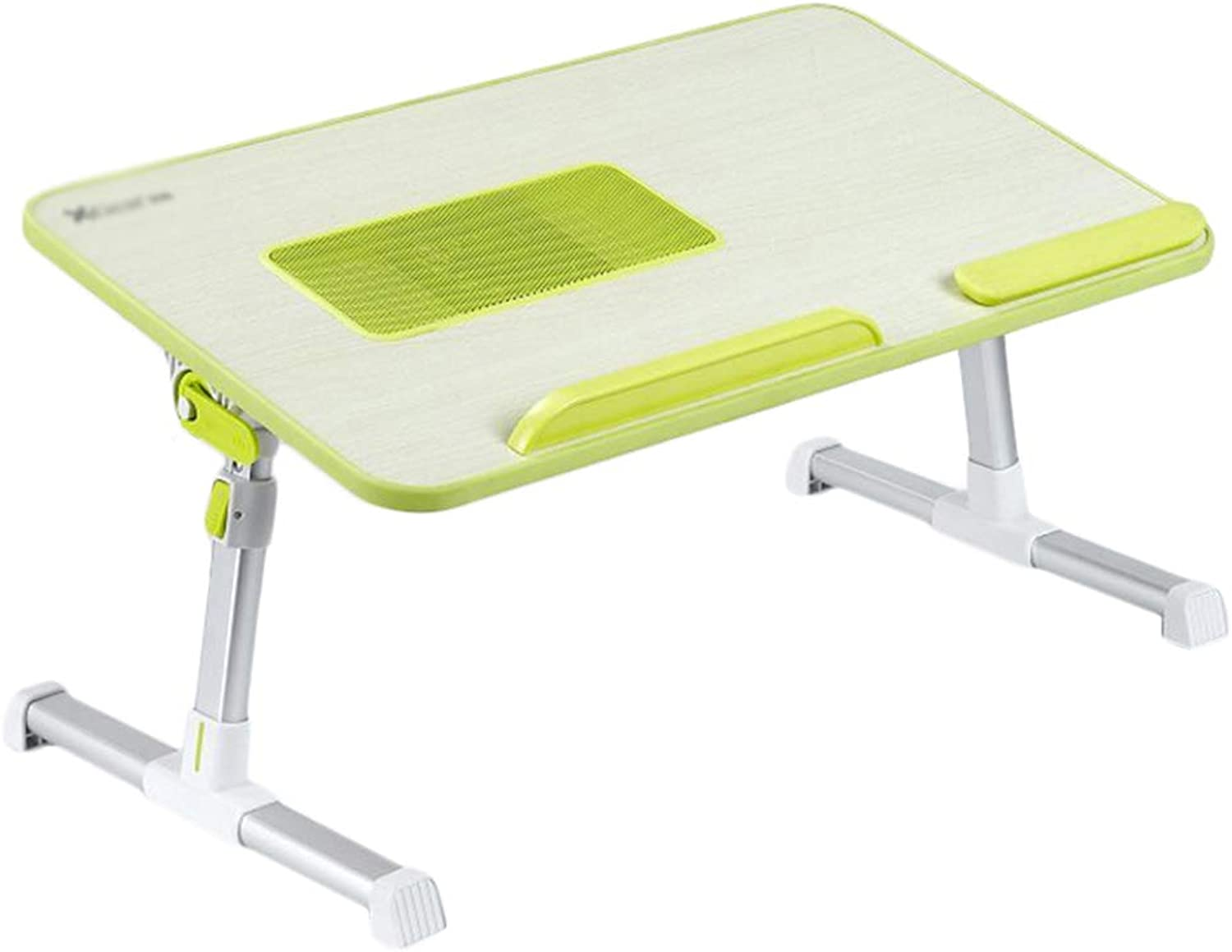 HAIPENG Small Bed Table Laptop Desk with USB Fan Height Adjustable Foldable Portable Dormitory, 3 colors, 52x30cm (color   Green)