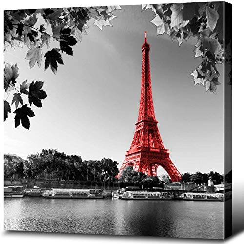Eiffel Tower Decor Paris Canvas Wall Art Poster France Red Prints Black and White Beautiful Lake Water Landscape Giclee Gallery Wrap Modern Home Office Decorations Stretched Ready to Hang 12x12'