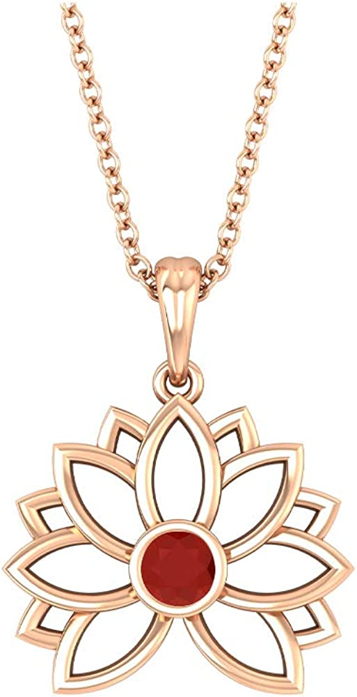 Lotus Flower Pendant, Solitaire Necklace, 3 MM Round Shaped Red Onyx, Solid Gold Floral Jewelry Collection, Valentine Day Gift for Her