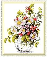 クロスステッチ大人、初心者11ctプレプリントパターン咲くリンゴの花40x50cmDIYスタンプ済み刺繍ツールキットホームの装飾手芸い贈り物40x50cm(フレームがない )