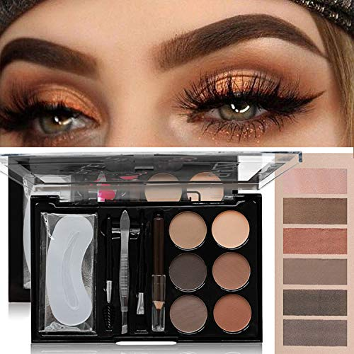 MAEPEOR Brow Contour Kit 13 Piece Eyebrow Makeup Palette 6 Eyebrow Powders 3 Eyebrow Stencils 1Spoolie 1Brush Duo 1Tweezers 1 Eyeliner Pencil - Unique Gifts For Girl and Women (Set 02)