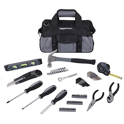 Amazon Basics 65 Piece Home Basic Repair Tool Kit Set With Bag