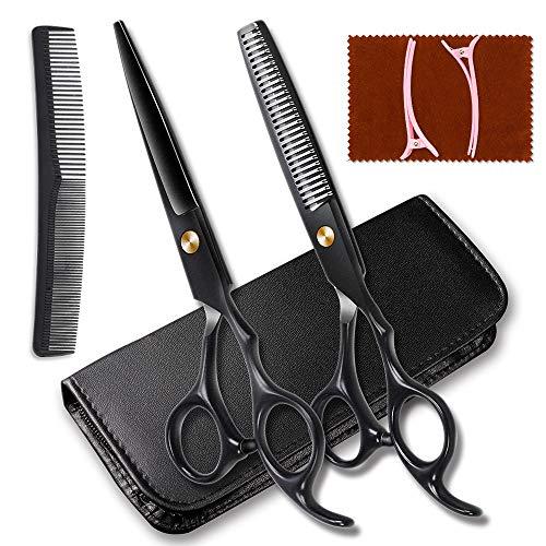 Friseurscheren Haarschere Friseur Schere Haare Schneiden Set Edelstahl mit Lederetui profi Haarschnitt Effilierschere für Damen Herren und Kinder