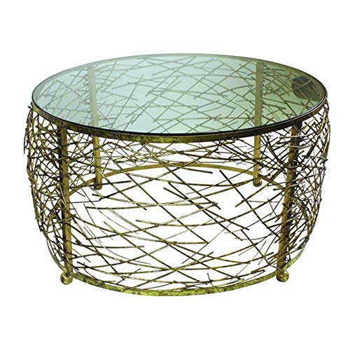 MY SWANKY HOME Round Abstract Gold Iron Twig Coffee Table Open Modern Drum Cage