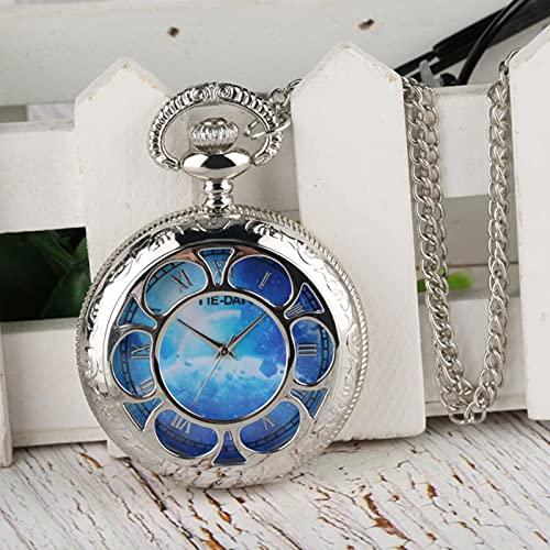 SSXR Flores Huecas Plateadas Reloj de Bolsillo de Cuarzo Colgante Reloj Collar Cadena Los Mejores Regalos para Hombres Mujeres Reloj de Bolsillo Dropshipping-4, a