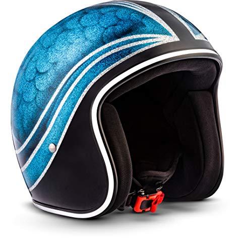 Rebel Helmets R3 Casco Jet Moto , Blu Giunto, M (57-58cm)