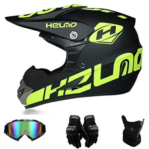 AMCYT Motocross Helme Downhill Helme Motorrad Crosshelme & Endurohelme Jugend Kinder Offroad Helm Motocross Gear Combo Mask Brillenhandschuhe (S)
