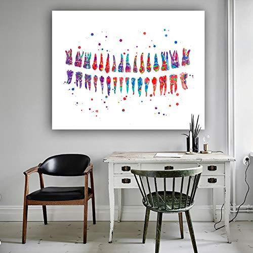 Terilizi Wandkunst Nordic Leinwand Gemälde Zahn Anatomie Bilder Drucke Home Decored Modern Poster Minimalist Für Wohnzimmer Dekor-60 * 80cm-ungerahmt