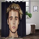 Joemary Ju_st_in B_ie_BER 6 Waterproof Fabric Shower Curtain Hooks Bathroom Odorless Eco Friendly 72' x 72' Inch