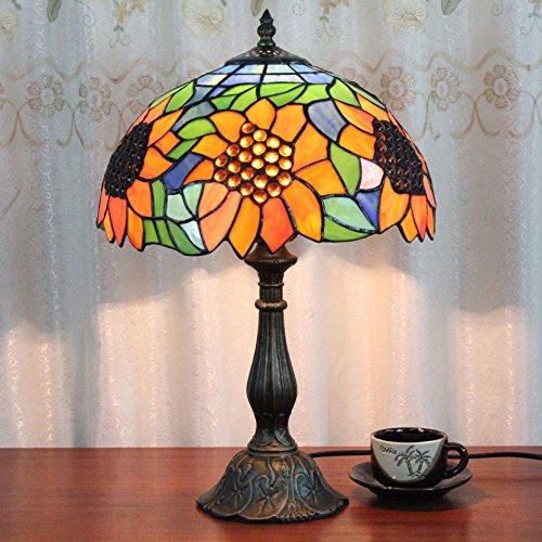 Gweat 12 pulgadas de lujo de la vendimia creativa girasol Tiffany lámpara de mesa lámpara de cabecera del escritorio de niños de la lámpara de la lámpara
