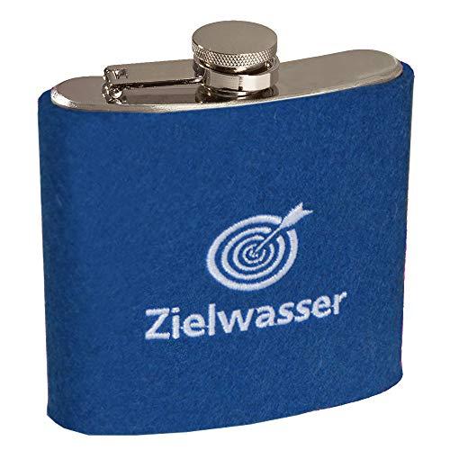 ebos Edelstahl Flachmann, 180ml - Verschiedene Motive ✓ Filzhülle ✓ Robust | Taschenflachmann in Silber für Schnaps | edle Taschenflasche mit Hülle aus 100% Woll-Filz (Zielwasser blau)