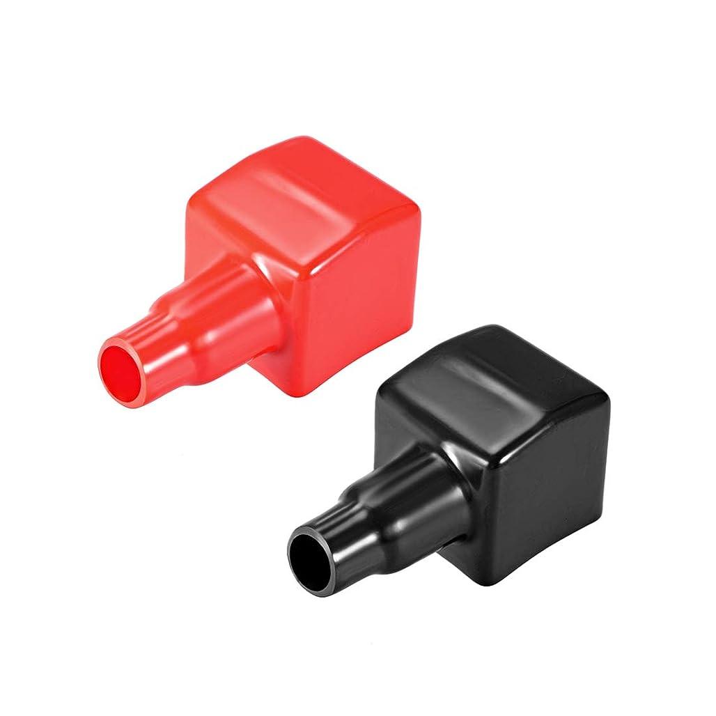 メルボルン投げ捨てる唇uxcell バッテリー端子保護カバー 絶縁ゴム ケーブル15mm 40mm 正方形 レッド ブラック 1ペア入り