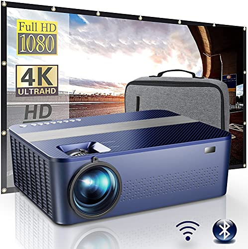 """WiFi Bluetooth Native 1080P Projector Includes 120"""" Projector Screen & Box,9000Lux HD Projector 4K with 450"""" Display,Outdoor Projector for Support 4K Dolby & Zoom,Compatible with Phone,PC,TV Box,PS4"""