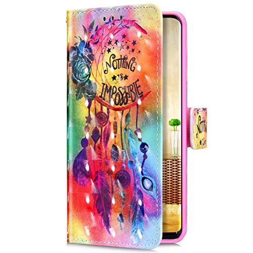 Uposao Kompatibel mit Samsung Galaxy J6 Plus 2018 Handyhülle Glitzer Bling 3D Bunt Muster Leder Hülle Flip Schutzhülle Brieftasche Wallet Bookstyle Tasche Case Magnet Kartenfach,Traumfänger Blumen