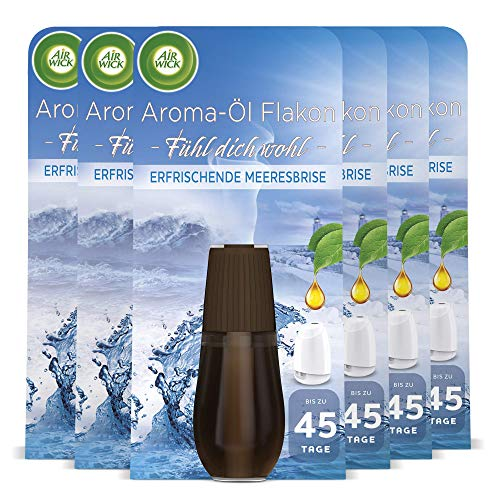Air Wick Aroma-Öl Flakon – Duftöl Nachfüller für den Air Wick Diffuser – Duft: Erfrischende Meeresbrise – 6 x 20 ml ätherisches Öl