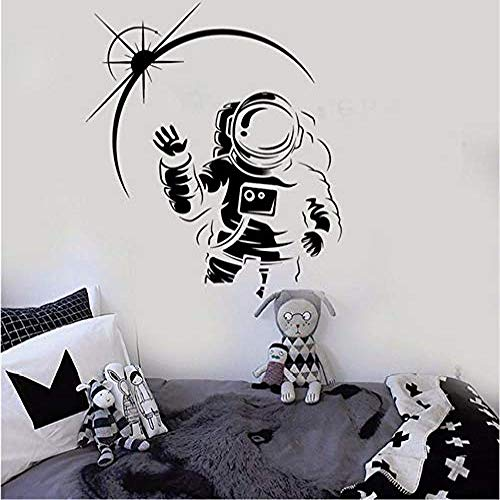 Vinilo Tatuajes de pared Cosmonauta Espacio Habitación infantil Niños Art Stickers Mural Nursery Kids Room Tatuajes de pared Decoración de pared Living 58 X 66 Cm