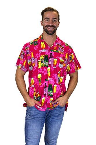 V.H.O. Funky Hawaiihemd, Kurzarm, Bierflaschen, Pink, XXL