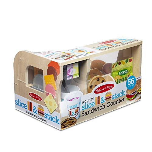 Melissa & Doug 41650 Sandwich-Theke aus Holz zum Schneiden & Stapeln mit Feinkostschneider – 56 Teile Spielzeug-Lebensmittel | 3+ |, Mehrfarbig